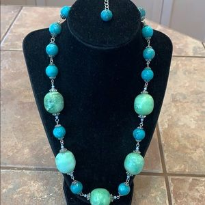 Turquoise silver filigree chunky large beaded seed